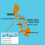 Map of Philippines featuring location of our Country Office and where we work. Last update: April 2019